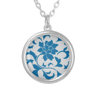Oriental Flower - Snorkel Blue & Silver Silver Plated Necklace