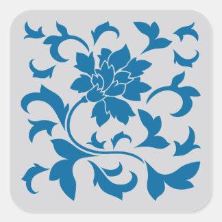 Oriental Flower - Snorkel Blue & Silver Square Sticker