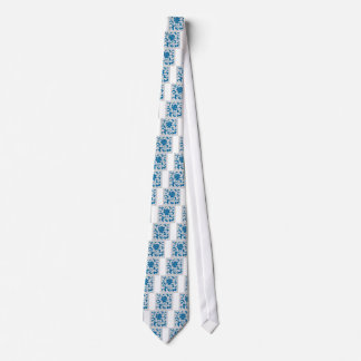 Oriental Flower - Snorkel Blue & Silver Tie