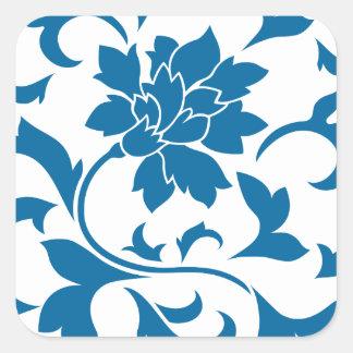 Oriental Flower - Snorkel Blue Square Sticker