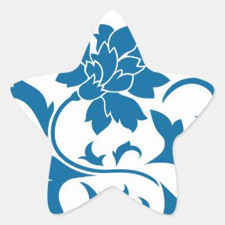 Oriental Flower - Snorkel Blue Star Sticker