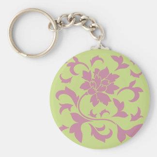 Oriental Flower - Strawberry & Daiquiri Green Lime Basic Round Button Key Ring