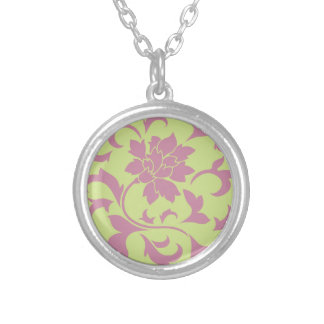 Oriental Flower - Strawberry & Daiquiri Green Lime Silver Plated Necklace