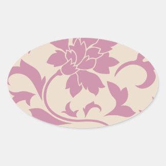 Oriental Flower - Strawberry Latte Oval Sticker