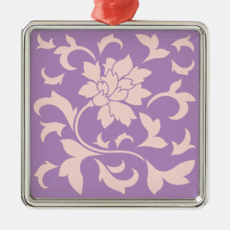 Oriental Flower - Strawberry Lilac Silver-Colored Square Decoration
