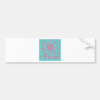 Oriental Flower - Strawberry & Pure Turquoise Bumper Sticker