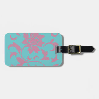 Oriental Flower - Strawberry & Pure Turquoise Luggage Tag