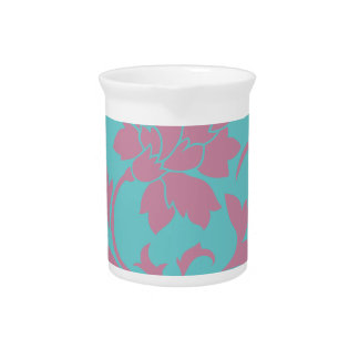 Oriental Flower - Strawberry & Pure Turquoise Pitcher