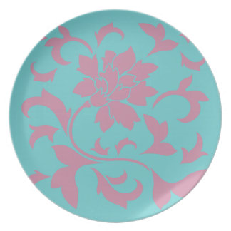 Oriental Flower - Strawberry & Pure Turquoise Plate