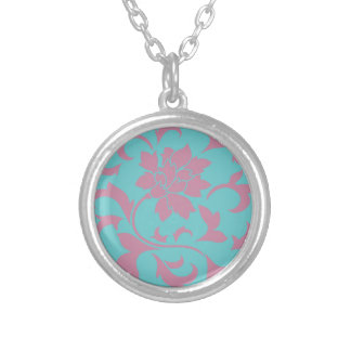 Oriental Flower - Strawberry & Pure Turquoise Silver Plated Necklace