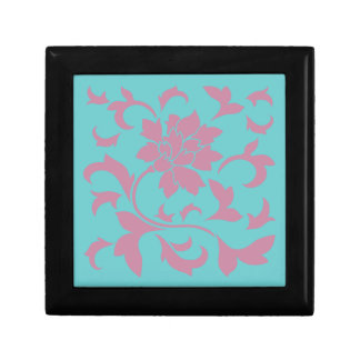 Oriental Flower - Strawberry & Pure Turquoise Small Square Gift Box