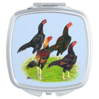 Oriental Game Fowl Quartet Compact Mirrors