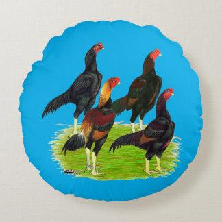 Oriental Game Fowl Quartet Round Cushion