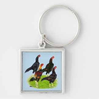 Oriental Game Fowl Quartet Silver-Colored Square Key Ring