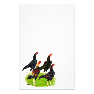 Oriental Game Fowl Quartet Stationery