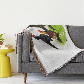 Oriental Game Fowl Quartet Throw Blanket