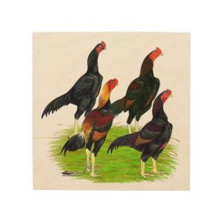 Oriental Game Fowl Quartet Wood Print