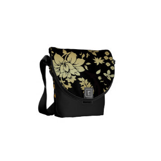Oriental Golden Flowers on Black Commuter Bags