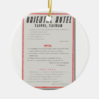 Oriental Hotel Rules Ceramic Ornament