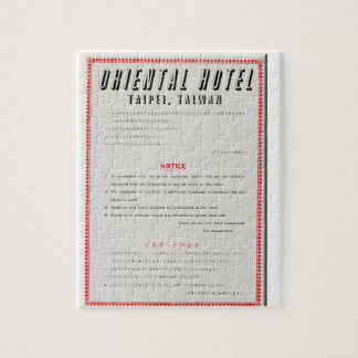 Oriental Hotel Rules Jigsaw Puzzle