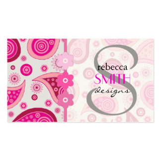 Oriental Iranian Paisley, Flowers - Pink Business Card Template