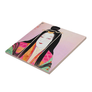Oriental japanese kabuki actor beautiful lady art small square tile