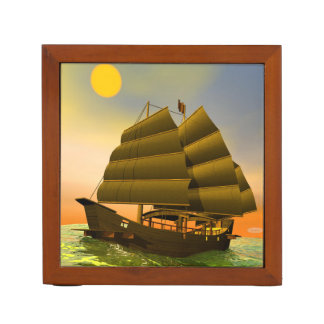 Oriental junk by sunset - 3D render Desk Organiser