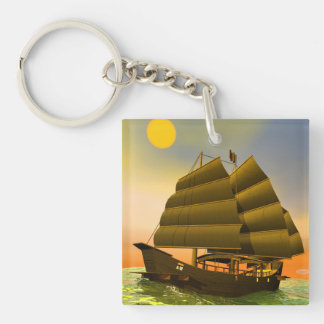 Oriental junk by sunset - 3D render Double-Sided Square Acrylic Key Ring