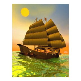 Oriental junk by sunset - 3D render Flyer