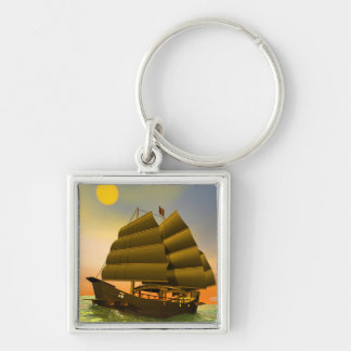 Oriental junk by sunset - 3D render Key Ring