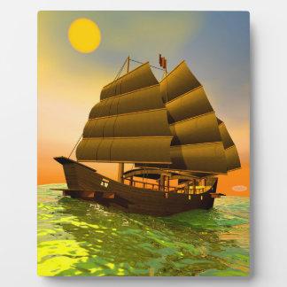 Oriental junk by sunset - 3D render Plaque