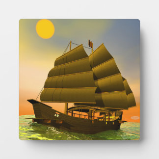 Oriental junk by sunset - 3D render Plaque