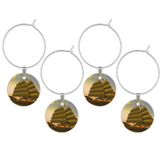 Oriental junk by sunset - 3D render Wine Charms