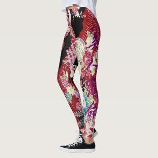 Oriental Kimono Print Leggings