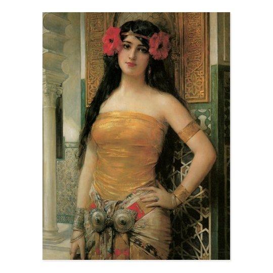 Oriental Lady Vintage Postcard