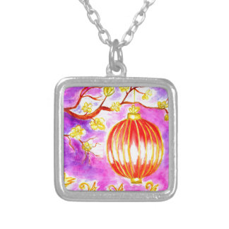 Oriental Lantern Art Silver Plated Necklace