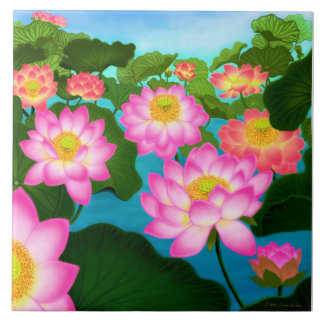 Oriental Lotus Garden Tile