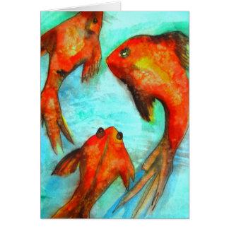 Oriental orange goldfish watercolor original art card