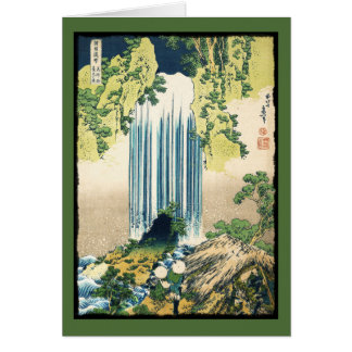 Oriental Painting Waterfall Above Shack Card
