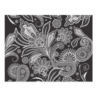 Oriental Persian Paisley, Dots - Black White Postcard
