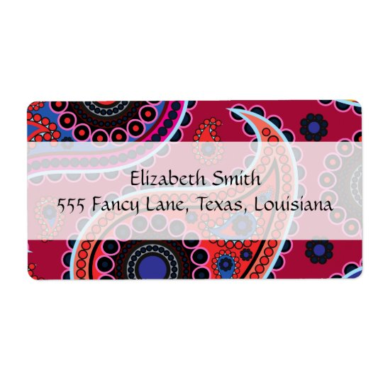 Oriental Persian Paisley, Dots - Red Blue Pink Shipping Label