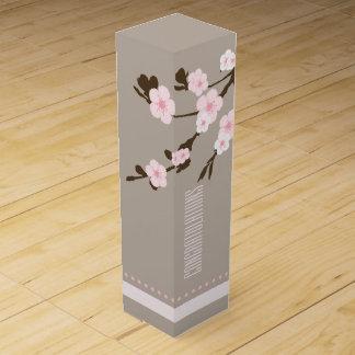 Oriental Pink Flowers on Tree Branch Wine Gift Box