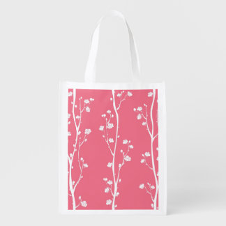 Oriental plum blossom pattern reusable grocery bag