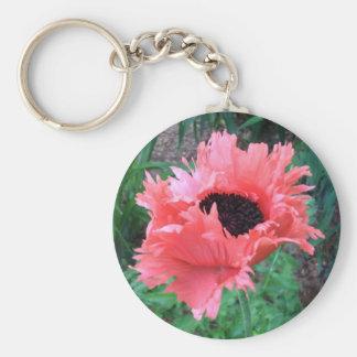 "Oriental POPPY ""Pink Ruffles"" --- Basic Round Button Key Ring"