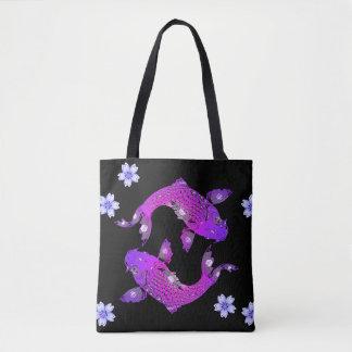 Oriental purple koi fish tote