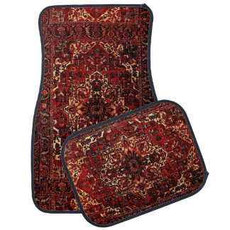 Oriental rug design in  dark red car mat