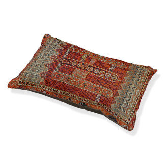 Oriental rug design in orange pet bed