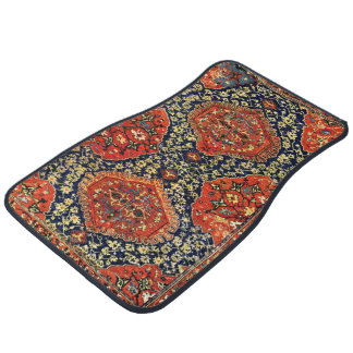 Oriental rug in blue&orange car mat