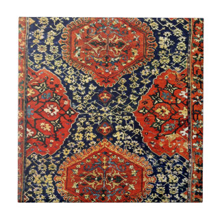 Oriental rug in blue &orange ceramic tile