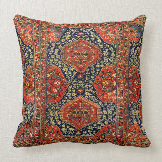 Oriental rug in blue&orange throw pillow